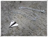 Flowers Silver Paper AirPlane Necklace // Airplane Necklace // Origami Necklace