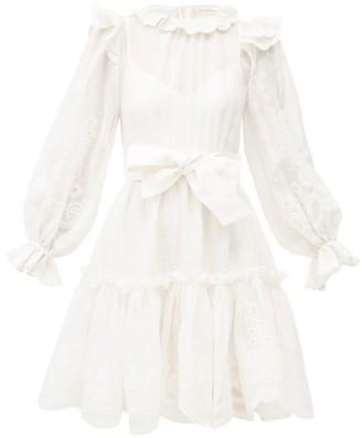 Zimmermann Lovestruck Ruffled Linen-blend Organdy Mini Dress - Ivory