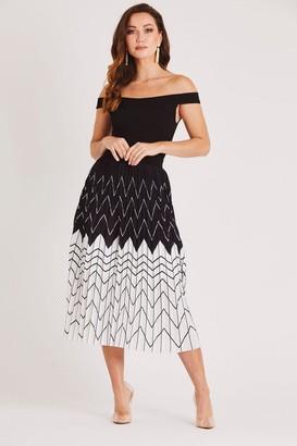 Bardot Skirt & Stiletto Pleated Midi Dress in Black/White