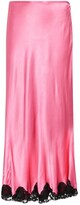 Thumbnail for your product : Rixo Crystal lace-trim satin midi skirt