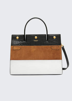 Burberry Medium Title Mixed Leather Top Handle Bag