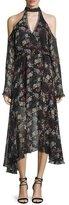 Nicholas Floral-Print Silk Cold-Shoulder Midi Dress