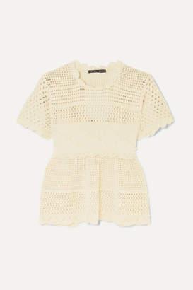 ALEXACHUNG Open-back Scalloped Crochet-knit Cotton-blend Top - Ecru