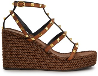 Valentino Rockstud 125 leather wedge sandals