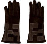 Fendi Suede Zucca Gloves
