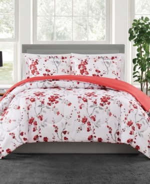Pem America Cherry Blossom 3-Pc. Reversible King Comforter Set, Created for Macy's Bedding