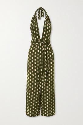 Evarae - Sora Printed Silk Crepe De Chine Halterneck Jumpsuit - Forest green