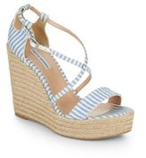Tabitha Simmons Jenny Striped Espadrille Wedge Sandals