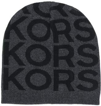Michael Kors all over logo ribbed knit beanie