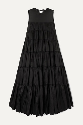 Cecilie Bahnsen Ebba Tiered Faille Midi Dress - Black