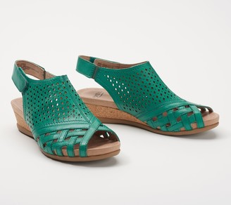 Earth Leather Perforated Wedge Sandals- Pisa Galli
