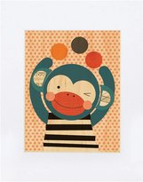 Petit Collage Large Unframed Print on Wood- Funny Monkey