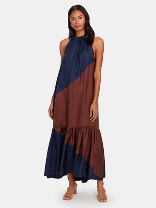 ASCENO The Ibiza Silk Halter Neck Maxi Dress