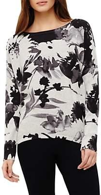 Phase Eight Dawne Daisy Print Knit Top, Lunar Grey