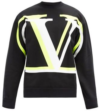 Valentino V-logo Print Cotton-jersey Sweatshirt - Black Yellow