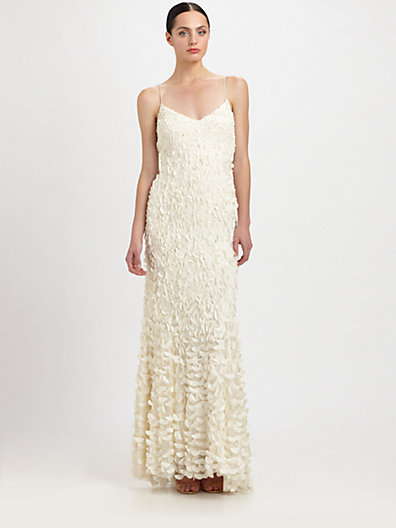 Theia Petal-Detailed Crepe Gown
