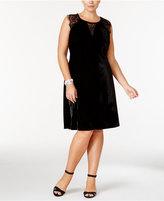 NY Collection Plus Size Lace-Trim Velvet Fit & Flare Dress