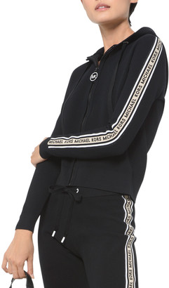 MICHAEL Michael Kors Textured Logo-Tape Zip-Front Hoodie