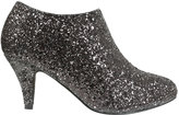 Yours Clothing Black & Silver Glitter Shoe Boots In EEE Fit