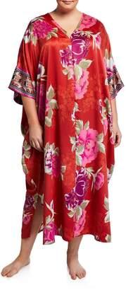 Natori Plus Size Fusion Floral-Print Caftan