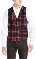 U.S. Polo Assn. Men's Burgundy Black Watch Plaid Vest