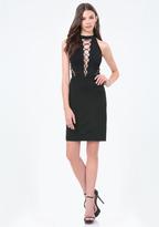 Bebe Petite Ponte Lace Up Dress