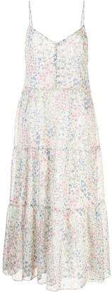 R 13 Floral Print Midi Dress