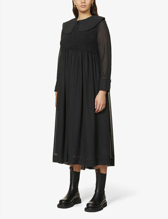 Ganni Shirred chiffon midi dress