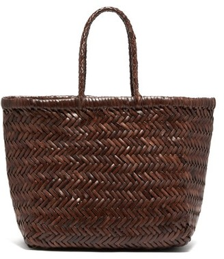 Dragon Optical Diffusion - Triple Jump Small Woven-leather Tote Bag - Womens - Dark Brown