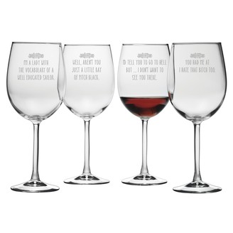 Susquehanna Glass Hate That Bitch Too Stemmed Wine Glass (Set of 4) 19 oz