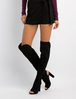 Charlotte Russe Bamboo Lattice-Back Over-The-Knee Boots