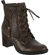 Earth Leather Block Heel Lace-up Ankle Boots -Missoula