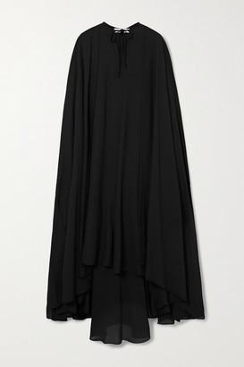 Balenciaga Asymmetric Cape-effect Chiffon Gown - Black