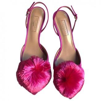 Aquazzura Powder Puff Pink Leather Sandals