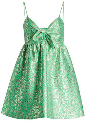 Alice + Olivia Melvina Tie-Detail Brocade Mini Dress