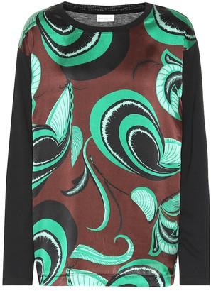 Dries Van Noten Printed cotton and silk top
