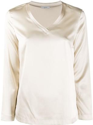 Peserico Silk V-Neck Long-Sleeve Blouse