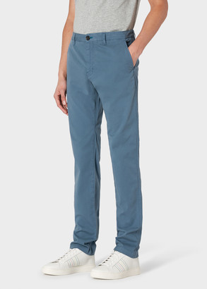 Paul Smith Men's Slim-Fit Teal Stretch Pima-Cotton Chinos