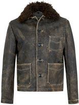 Topman DESIGN Dusty Grey Leather Coat