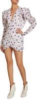 Isabel Marant Floral-Print Cotton-Silk V-Neck Mini Dress