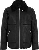 River Island Boys faux leather aviator jacket