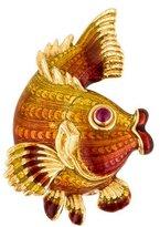Judith Leiber 18K Pink Sapphire Fish Brooch