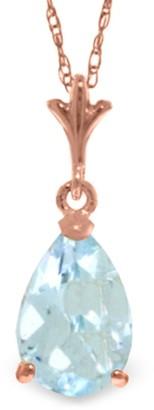Overstock 1.5 Carat 14K Rose Gold Pear Aquamarine Necklace