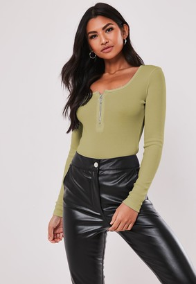 Missguided Petite Green Zip Front Long Sleeve Ribbed Bodysuit