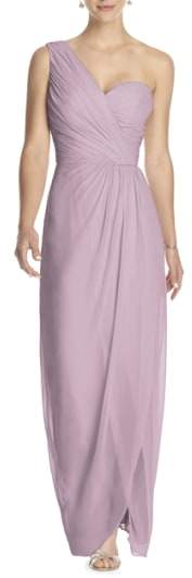Dessy Collection One-Shoulder Draped Chiffon Gown