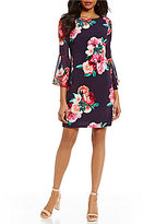 Jessica Howard Bell Sleeve Floral Print Chiffon Shift Dress