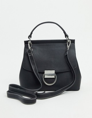 ASOS DESIGN satchel with ring hardware in black with contrast top stitch