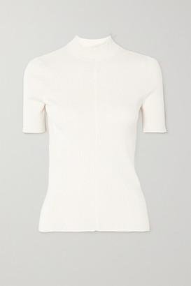 Oscar de la Renta Ribbed Silk-blend Sweater - Ivory