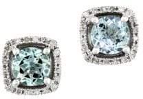 Effy Gemma Aquamarine, Diamond and 14K White Gold Stud Earrings