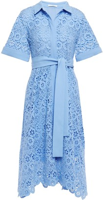 Maje Asymmetric Belted Crepe-trimmed Guipure Lace Midi Shirt Dress
